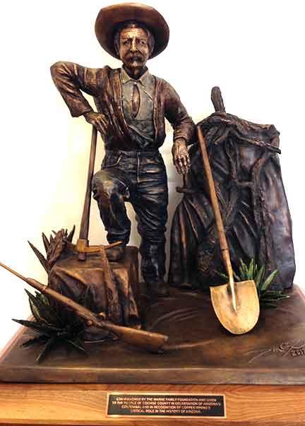 Don Cox' sculpture of George Warren