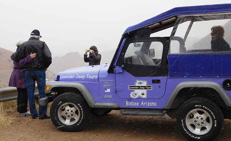It's warm in the winter inside our Lavender Jeeps