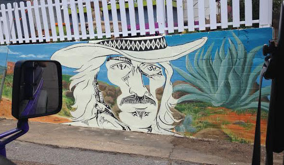 Cowboy mural on Tombstone Canyon