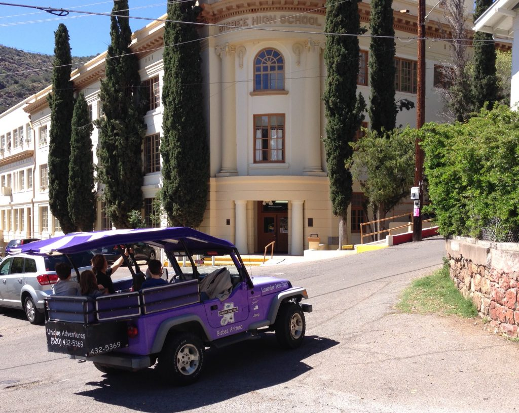 Lavender Jeep at Old Bisbee High School